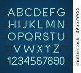 neon light alphabet vector font | Shutterstock .eps vector #395579932