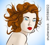 portrait of creative fashion... | Shutterstock .eps vector #395580022
