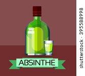 absinthe bottle alcohol drink... | Shutterstock .eps vector #395588998