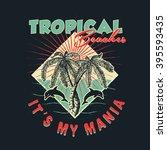 tropical beaches. handmade... | Shutterstock .eps vector #395593435