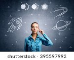 dreaming to explore space | Shutterstock . vector #395597992