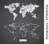 scribble sketch of world map... | Shutterstock .eps vector #395606326
