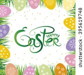 happy easter vector lettering....   Shutterstock .eps vector #395619748