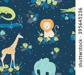 vector wildlife seamless... | Shutterstock .eps vector #395645236
