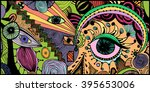 abstract eyes  freehand ink... | Shutterstock .eps vector #395653006