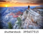 Man In The Grand Canyon At...