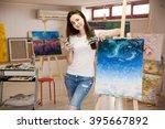 female artist working on...   Shutterstock . vector #395667892
