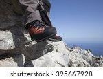 a traveler stands on top of a... | Shutterstock . vector #395667928