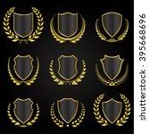 black shields with laurel...   Shutterstock .eps vector #395668696