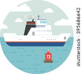 flat ocean and sea transport... | Shutterstock .eps vector #395686642