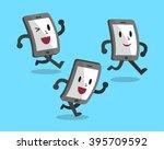 cartoon running smartphones | Shutterstock .eps vector #395709592