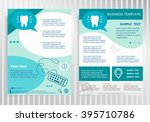 tooth icon on vector brochure.... | Shutterstock .eps vector #395710786