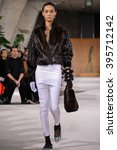 Small photo of PARIS, FRANCE - MARCH 4: Model Noemie Abigail walks runway at the Loewe show during Paris Fashion Week Autumn/Winter 2016/17 on March 4, 2016 in Paris, France.