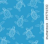 little turtle contour seamless... | Shutterstock .eps vector #395751532