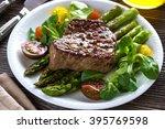 beef steak with grilled... | Shutterstock . vector #395769598