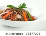 Cold Soba Buckwheat Noodle Salad, Popular Korean Dish Closeup - stock photo
