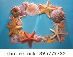 frame of shells of various... | Shutterstock . vector #395779732