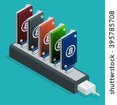 block chain concept. bitcoin... | Shutterstock .eps vector #395785708