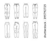 hand drawn vector clothing set. ... | Shutterstock .eps vector #395792725