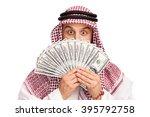 young arab hiding his face... | Shutterstock . vector #395792758