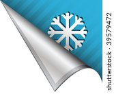 Snowflake or winter icon on vector peeled corner tab suitable for use in print, on websites, or in advertising materials. - stock vector