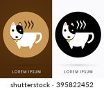 dog cafe  cup bull terrier dog... | Shutterstock .eps vector #395822452