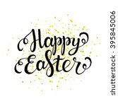 happy easter card with black... | Shutterstock .eps vector #395845006