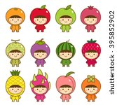 set of kids in cute fruits... | Shutterstock .eps vector #395852902
