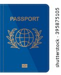 blue passport cover isolated on ... | Shutterstock .eps vector #395875105