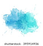Blue Watercolor splatters. illustration.