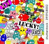bright colorful stickers... | Shutterstock . vector #395918002