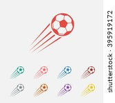 set of  red soccer vector icon
