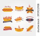 hot dog flat design vintage... | Shutterstock .eps vector #395921908