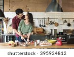 couple cooking hobby lifestyle... | Shutterstock . vector #395924812