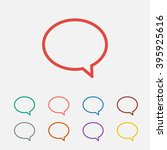 set of  red chat speech vector...