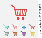 set of  red shopping vector icon