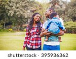 adorable african family walking ... | Shutterstock . vector #395936362