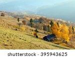 autumn misty mountain slope... | Shutterstock . vector #395943625
