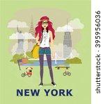 fashion illustration  new york... | Shutterstock .eps vector #395956036
