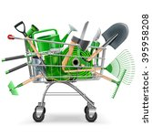 vector supermarket trolley with ... | Shutterstock .eps vector #395958208