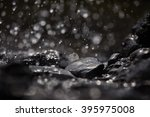 Water drops on rocks