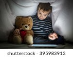 cute little kid with his friend ... | Shutterstock . vector #395983912