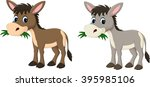 funny donkey eating grass | Shutterstock .eps vector #395985106