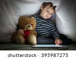 cute little kid with his friend ... | Shutterstock . vector #395987275