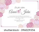 wedding card   pink rose floral ... | Shutterstock .eps vector #396029356