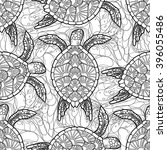 graphic hawksbill sea turtle... | Shutterstock .eps vector #396055486