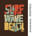 surf. vintage surf print. tee... | Shutterstock .eps vector #396059812