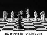 chess pieces on a chessboard on ... | Shutterstock . vector #396061945