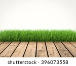 3d rendered wooden footpath... | Shutterstock . vector #396073558