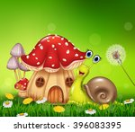 Happy Snail With Beautiful...